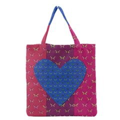 Butterfly Heart Pattern Grocery Tote Bag
