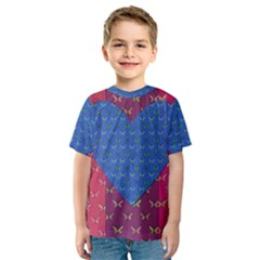 Butterfly Heart Pattern Kids  Sport Mesh Tee
