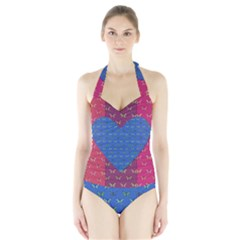 Butterfly Heart Pattern Halter Swimsuit