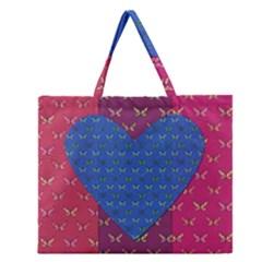 Butterfly Heart Pattern Zipper Large Tote Bag