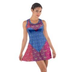 Butterfly Heart Pattern Cotton Racerback Dress