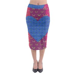 Butterfly Heart Pattern Midi Pencil Skirt