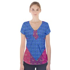 Butterfly Heart Pattern Short Sleeve Front Detail Top