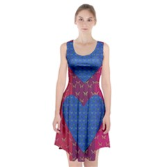 Butterfly Heart Pattern Racerback Midi Dress