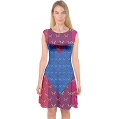 Butterfly Heart Pattern Capsleeve Midi Dress