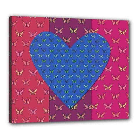 Butterfly Heart Pattern Canvas 24  x 20
