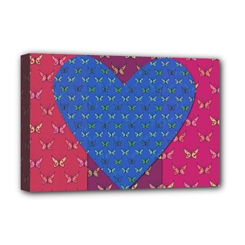 Butterfly Heart Pattern Deluxe Canvas 18  x 12