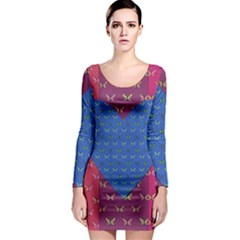 Butterfly Heart Pattern Long Sleeve Bodycon Dress