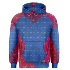 Butterfly Heart Pattern Men s Pullover Hoodie
