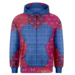 Butterfly Heart Pattern Men s Zipper Hoodie
