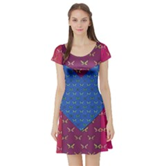 Butterfly Heart Pattern Short Sleeve Skater Dress