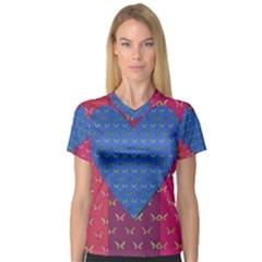 Butterfly Heart Pattern Women s V Neck Sport Mesh Tee