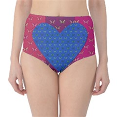 Butterfly Heart Pattern High Waist Bikini Bottoms