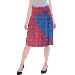 Butterfly Heart Pattern Midi Beach Skirt