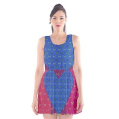Butterfly Heart Pattern Scoop Neck Skater Dress