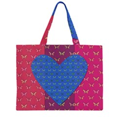 Butterfly Heart Pattern Large Tote Bag