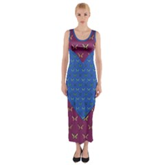 Butterfly Heart Pattern Fitted Maxi Dress