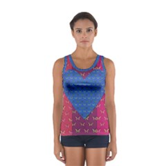 Butterfly Heart Pattern Women s Sport Tank Top