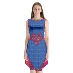 Butterfly Heart Pattern Sleeveless Chiffon Dress