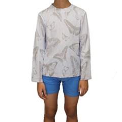 Butterfly Background Vintage Kids  Long Sleeve Swimwear