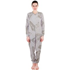 Butterfly Background Vintage Onepiece Jumpsuit (ladies)