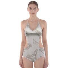 Butterfly Background Vintage Cut Out One Piece Swimsuit