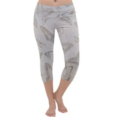 Butterfly Background Vintage Capri Yoga Leggings