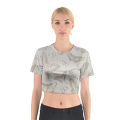 Butterfly Background Vintage Cotton Crop Top