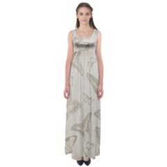 Butterfly Background Vintage Empire Waist Maxi Dress