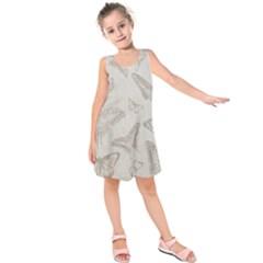 Butterfly Background Vintage Kids  Sleeveless Dress