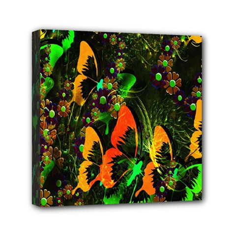 Butterfly Abstract Flowers Mini Canvas 6  x 6