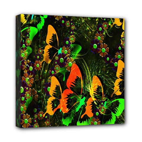 Butterfly Abstract Flowers Mini Canvas 8  x 8