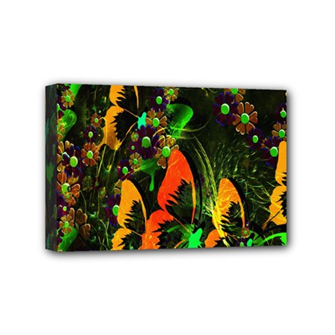 Butterfly Abstract Flowers Mini Canvas 6  x 4