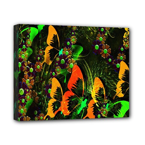 Butterfly Abstract Flowers Canvas 10  x 8