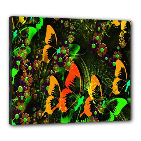 Butterfly Abstract Flowers Canvas 24  X 20