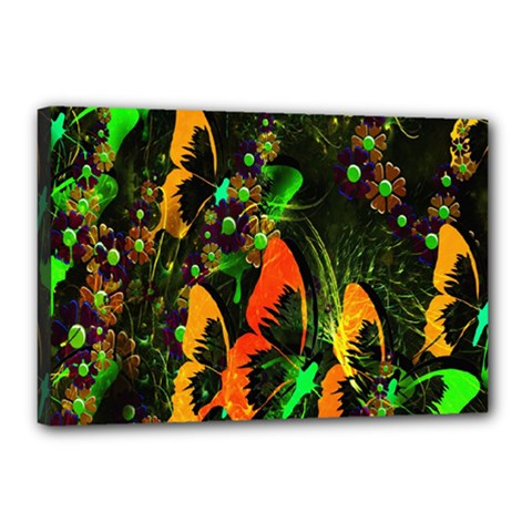 Butterfly Abstract Flowers Canvas 18  x 12