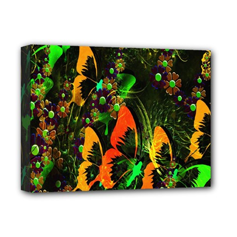 Butterfly Abstract Flowers Deluxe Canvas 16  x 12