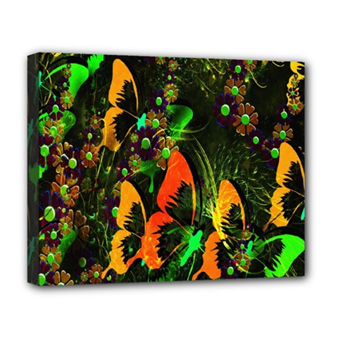 Butterfly Abstract Flowers Deluxe Canvas 20  x 16