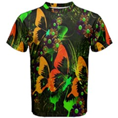 Butterfly Abstract Flowers Men s Cotton Tee