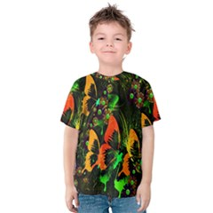 Butterfly Abstract Flowers Kids  Cotton Tee