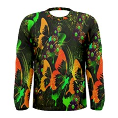 Butterfly Abstract Flowers Men s Long Sleeve Tee