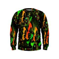 Butterfly Abstract Flowers Kids  Sweatshirt