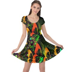 Butterfly Abstract Flowers Cap Sleeve Dresses
