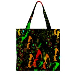 Butterfly Abstract Flowers Zipper Grocery Tote Bag