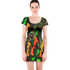 Butterfly Abstract Flowers Short Sleeve Bodycon Dress