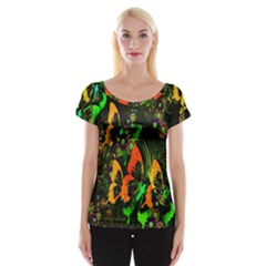 Butterfly Abstract Flowers Women s Cap Sleeve Top