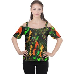 Butterfly Abstract Flowers Women s Cutout Shoulder Tee