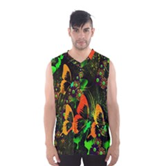 Butterfly Abstract Flowers Men s Basketball Tank Top