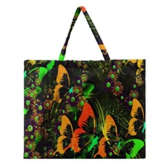 Butterfly Abstract Flowers Zipper Large Tote Bag