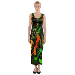 Butterfly Abstract Flowers Fitted Maxi Dress